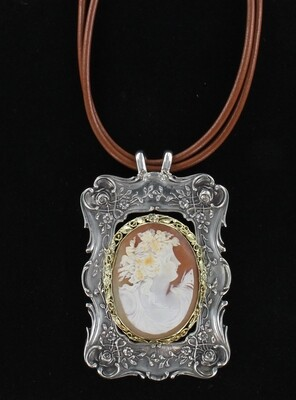14KT/STERLING SILVER CAMEO PIN/PENDANT NECKLACE, CIRCA 1900
