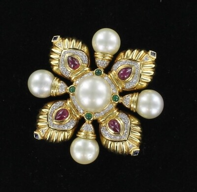 18KT SOUTH SEA PEARL, DIAMOND AND RUBY PIN