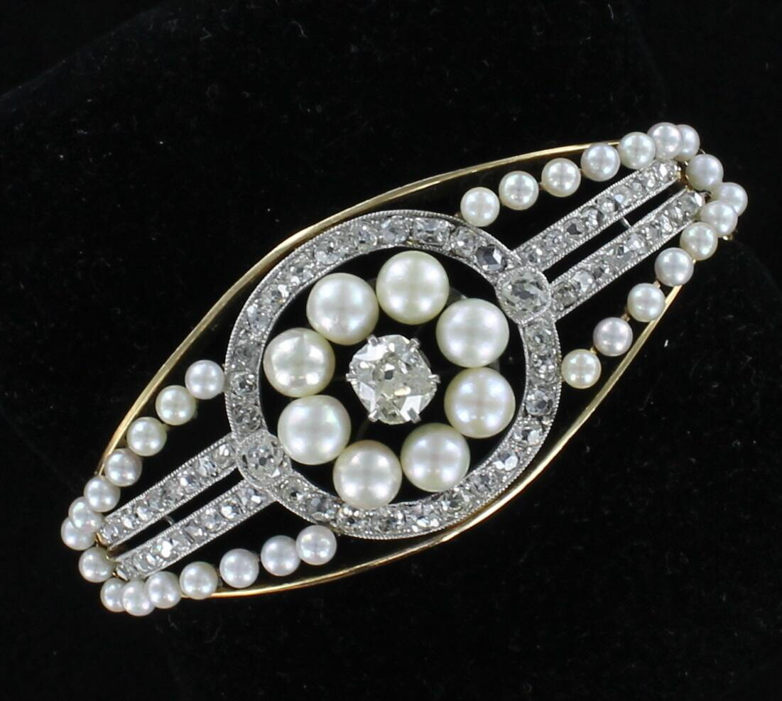 14K YELLOW AND WHITE DIAMOND AND PEARL BRACELET CIRCA 1900