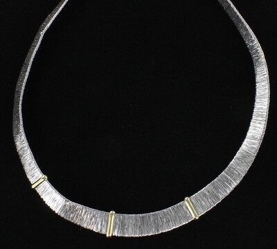 14KT WHITE AND YELLOW GOLD FLEXIBLE NECKLACE