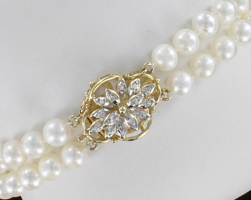 14KT YELLOW GOLD CLASP ON 6MM DOUBLE STRAND PEARL BRACELET