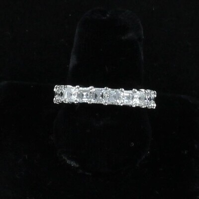 PLATINUM 4.22 CT TW ASSCHER CUT DIAMOND ETERNITY BAND, SIZE 6.5
