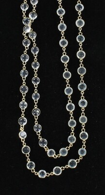 14KT YELLOW GOLD CABICHON AQUAMARINE BY THE YARD NECKLACE