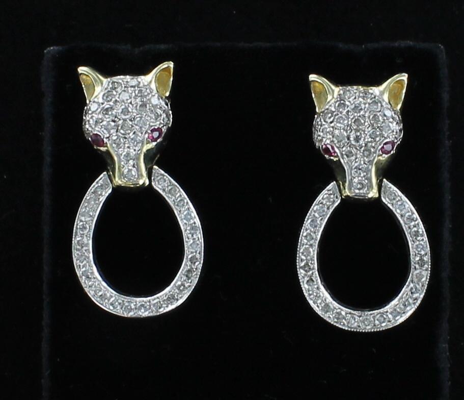 14KT/T 1.80 CT TW DIAMOND FOX EARRINGS