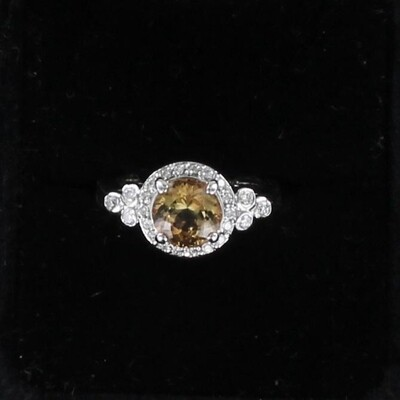 14KT WHITE GOLD 2.60 CT TOPAZ AND DIAMOND RING