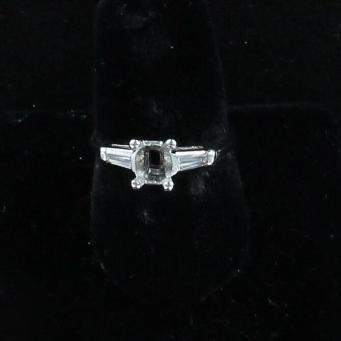 PLATINUM .20 CT TW DIAMOND BAGUETTE MOUNTING