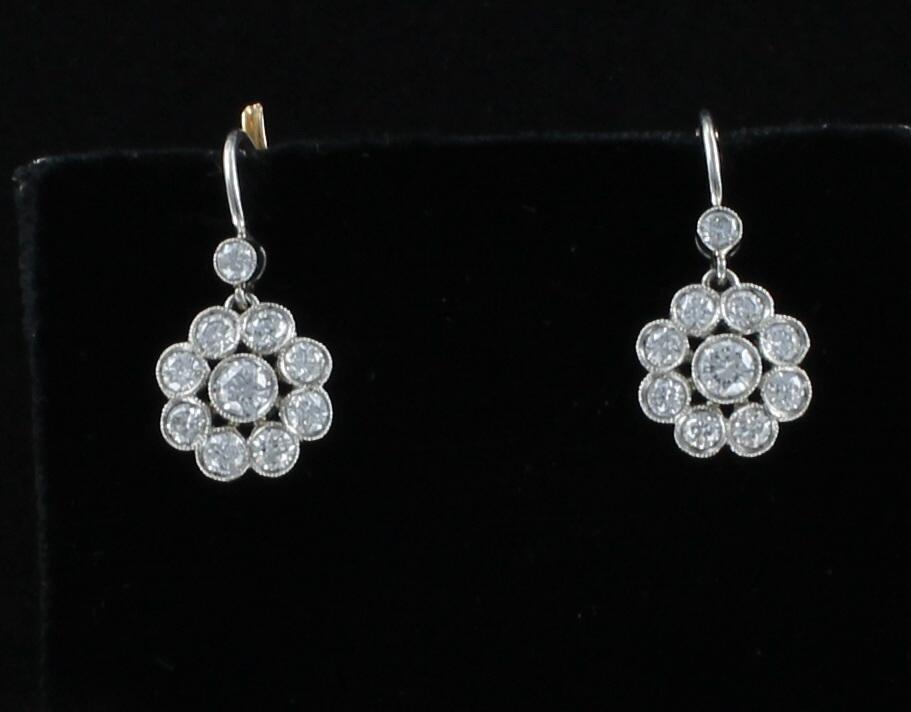 PLATINUM/18KT YELLOW GOLD 1.42 CT TW DIAMOND FLOWER EARRINGS