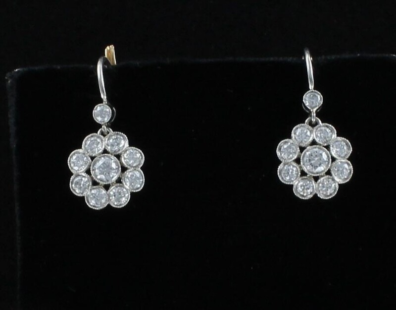 PLATINUM/18KT YELLOW GOLD 1.42 CT TW DIAMOND FLOWER EARRINGS