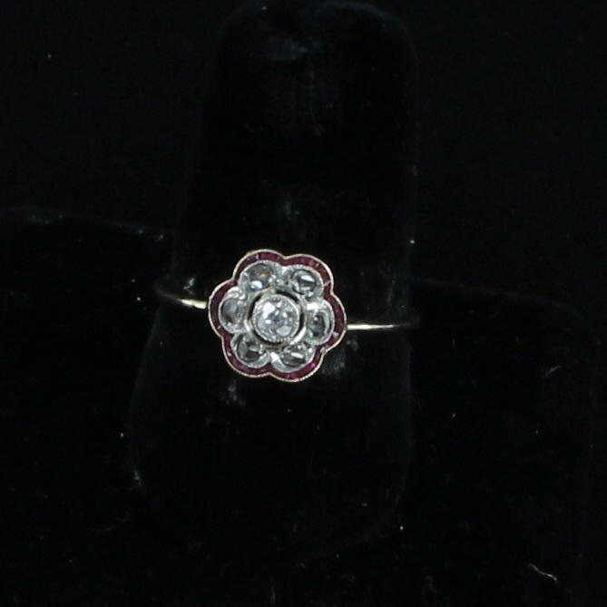 14KT WHITE AND YELLOW GOLD VICTORIAN ROSE CUT DIAMOND AND RUBY RING