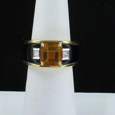 18KT YELLOW GOLD MICHAEL BONDANZA  ONYX AND CITRINE RING