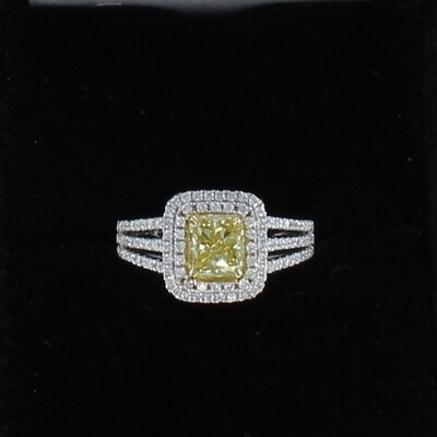 18KT 1.50 CT FANCY YELLOW CUSHION CUT DIAMOND ENGAGEMENT RING