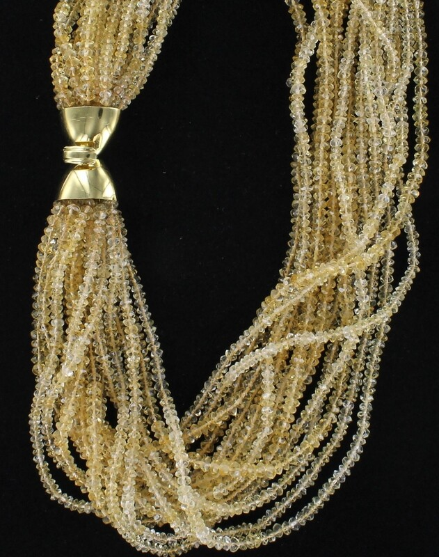 18KT CLASP ON CITRINE BEADED NECKLACE