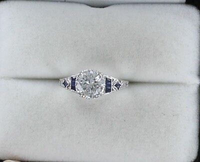 14KT EGL CERTIFIED 1.54 CT ROUND BRILLIANT DIAMOND AND SAPPHIRE ART DECO ENGAGEMENT RING