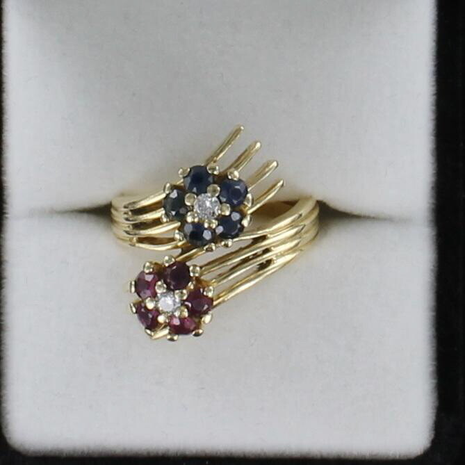 14KT SAPPHIRE AND RUBY FLOWER RING