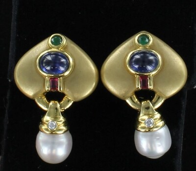 18KTY CABICHON SAPPHIRE, EMERALD, RUBY AND PEARL EARRINGS