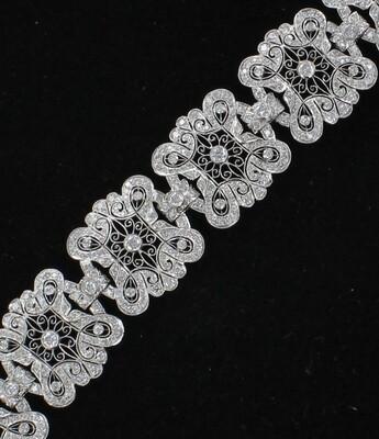 PLATINUM 9.23 CT TW DIAMOND FILAGREE BRACELET