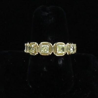 18KTY 3.0 CT TW FANCY YELLOW CUSHION CUT DIAMOND ETERNITY BAND, SZ 6