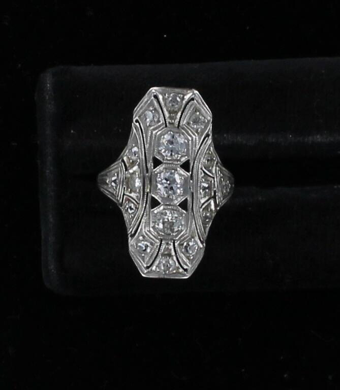 14KT .60 CT TW DIAMOND ART DECO RING