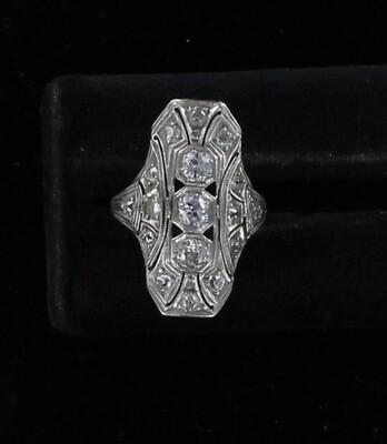 14KT .60 CT TW DIAMOND ART DECO RING