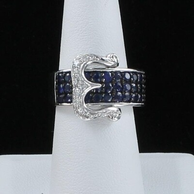 14KTW SAPPHIRE AND DIAMOND BUCKLE RING