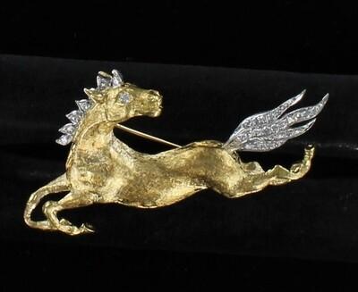 18KT DIAMOND HORSE PIN