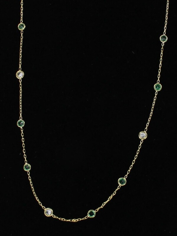 14KTY EMERALD AND DIAMOND CHAIN