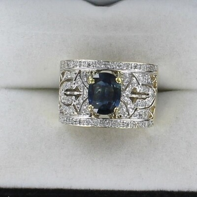 14KT/T SAPPHIRE AND DIAMOND RING