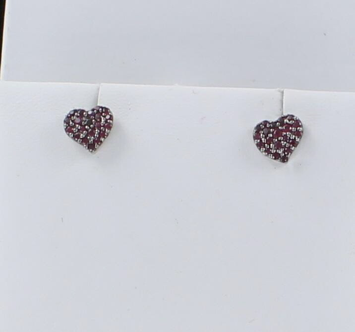 18KTW RUBY HEART EARRINGS