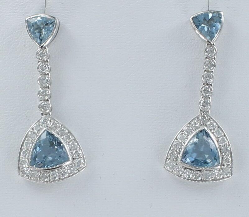 PLATINUM AQUAMARINE AND DIAMOND DANGLE EARRINGS