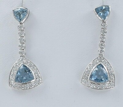 PLATINUM AQUAMARINE AND DIAMOND DANGLE EARRINGS