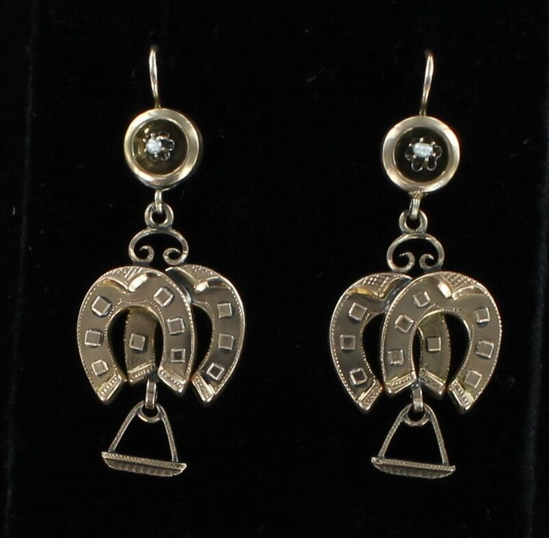 12KT VICTORIAN HORSESHOE EARRINGS CIRCA 1900