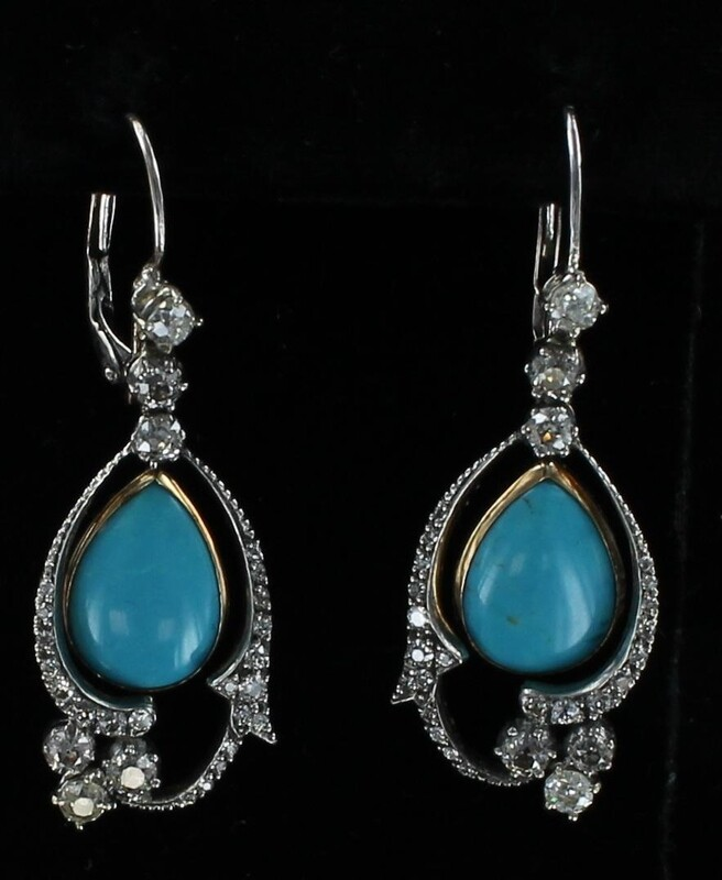 18KT/T TURQUOISE AND DIAMOND DANGLE EARRINGS, CIRCA 1900