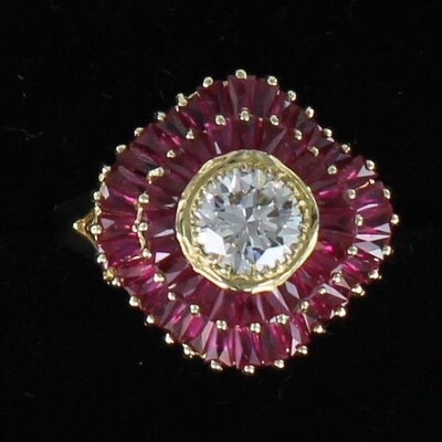 14KT 1.14 CT. DIAMOND AND RUBY RING