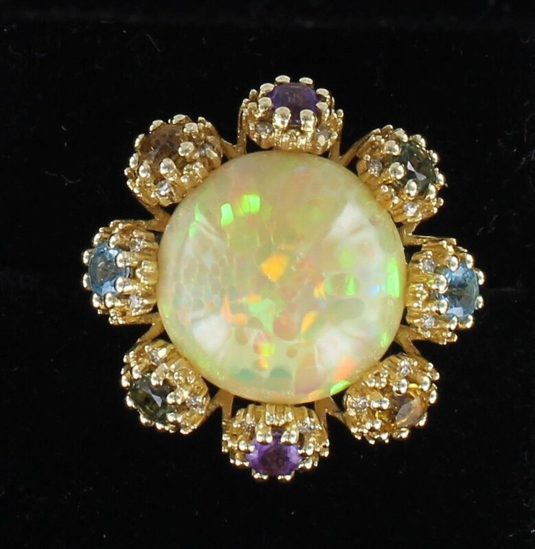 14KT OPAL AND MULTI STONE RING