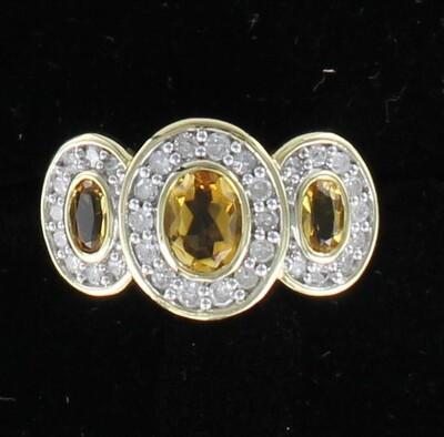 14KTY CITRINE AND DIAMOND RING