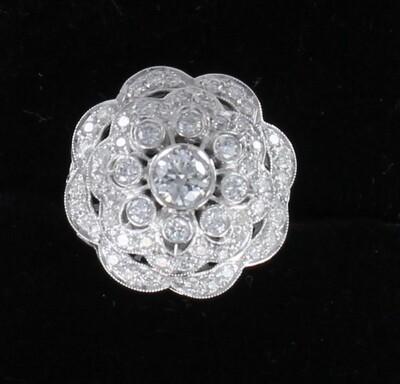 PLATINUM 1.42 CT TW ROUND BRILLIANT DIAMOND RING
