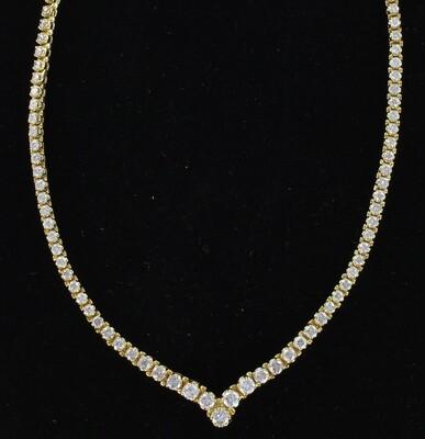 18KTY 11.0 CT TW ROUND BRILLIANT DIAMOND NECKLACE