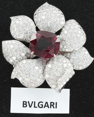 PLATINUM BVLGARI RUBELLITE DIAMOND PIN