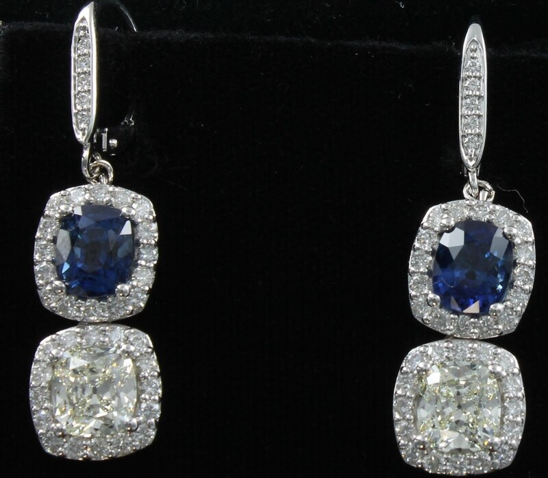 14KTW SAPPHIRE AND DIAMOND EARRINGS