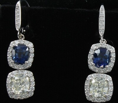 14KTW SAPPHIRE AND DIAMOND EARRINGS