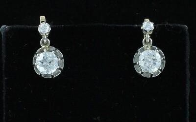 14KT/T 1.55 CT TW ROUND DIAMOND EARRINGS