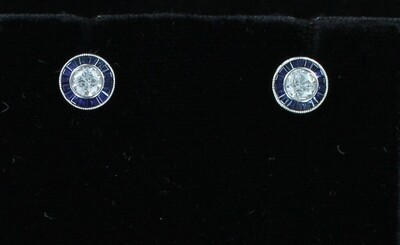 18KT .52 CT ROUND DIAMONDS WITH .49 CT SAPPHIRES EARRINGS