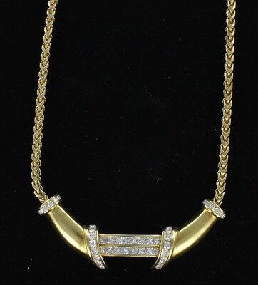 18KT 4.75 CT TW PRINCESS CUT DIAMOND NECKLACE