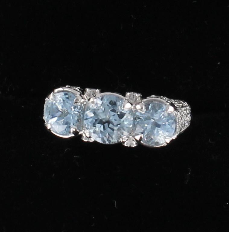PLATINUM 3.0 CT TW AQUAMARINE AND DIAMOND RING