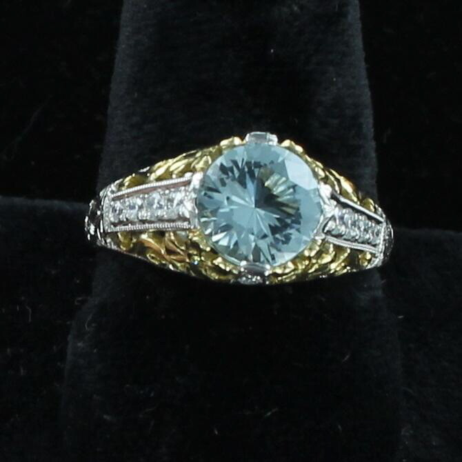 18KTY/PLATINUM 1.30 CT AQUAMARINE FILAGREE RING WITH DIAMONDS