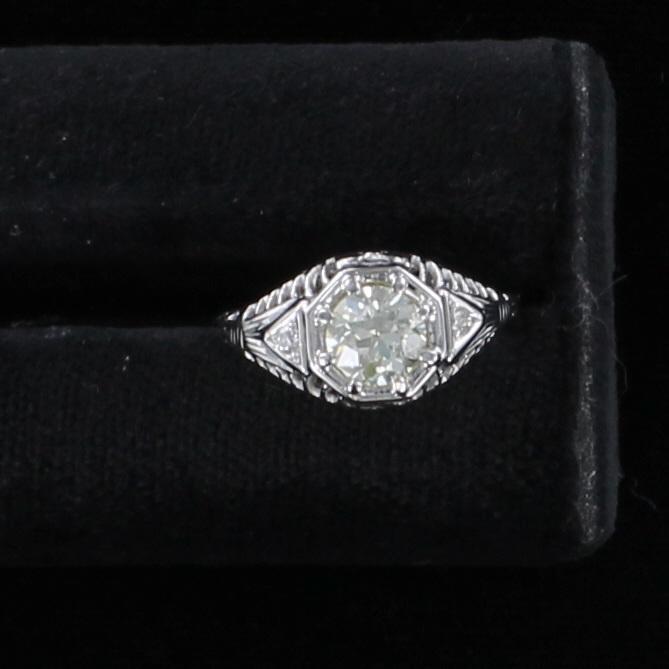 14KT .82 CT OLD EUROPEAN CUT DIAMOND ENGAGEMENT RING CIRCA 1920
