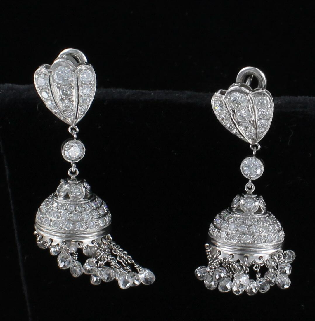 PLATINUM 7.5 CT. TW DIAMOND BRIOLETTE DANGLE EARRINGS