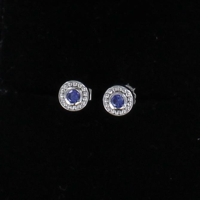 PLATINUM .24 CT TW SAPPHIRE STUD EARRINGS