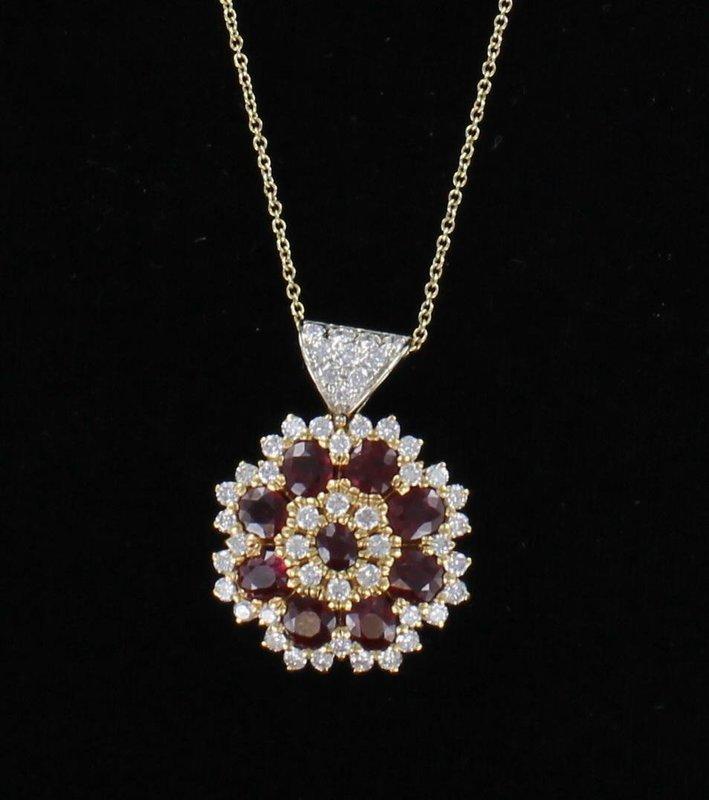 18KT GIA CERTIFIED NATURAL BURMESE RUBY AND DIAMOND PENDANT CIRCA 1960