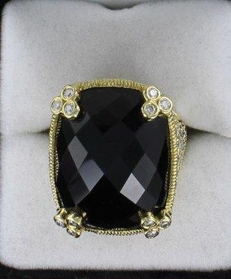18KT JUDITH RIPKA DIAMOND AND TOPAZ RING